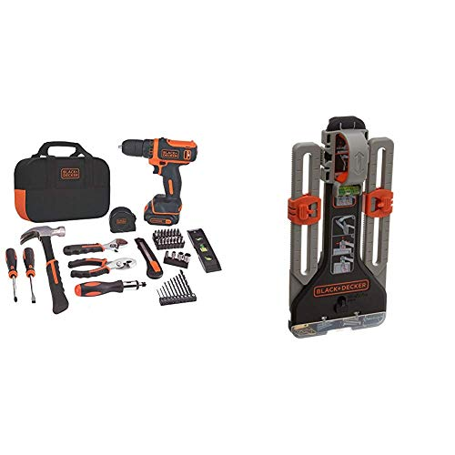 BLACK+DECKER 12V MAX Drill/Home Tool Kit with MarkIT Picture Hanging Tool Kit (BDCDD12PK & BDMKIT101C)