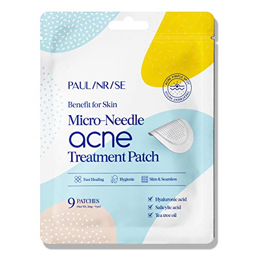 Paulinrise Micro-needle Acne Pimple Treatment Patch, Fast Healing Zit Stickers, Salicylic Acid Acne Treatment, for Face and Day, Vegan, Cruelty-Free (9 Patches in 1 Pack)