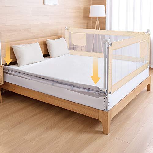 MorNon Bettgitter Bettschutzgitter Kinderbettgitter Babybettgitter Rausfallschutz 180cm für Babys und Kinder Beige (1 Seite)