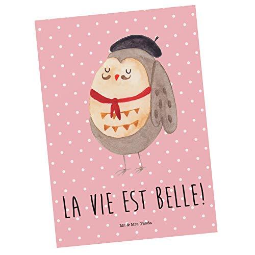 Mr. & Mrs. Panda Einladung, Ansichtskarte, Postkarte Eule Französisch mit Spruch - Farbe Rot Pastell