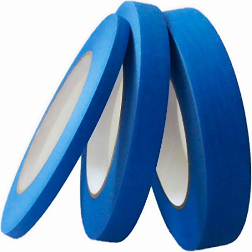 Blue Painters Tape 1/4' 1/2' 3/4' x 60 yd, Multi Size Pack - Painting & Masking Tape - Easy and Clean Removal - Multi Surface Use - ISO 9001 Worldwide Quality - Leaves No Residue Behind