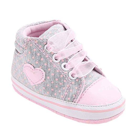 Fossen Recién Nacido Zapatos Primeros Pasos Bebe Niña Forma de corazón Antideslizante Suela Blanda Zapatos (0-6 Meses, Gris)