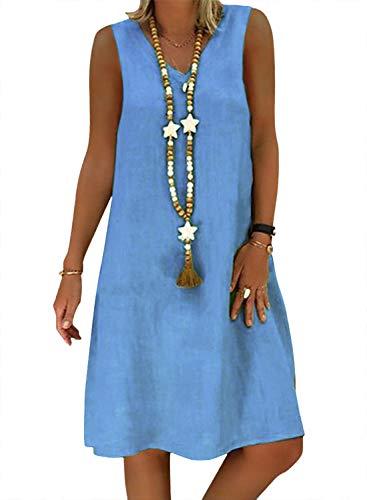 Yidarton Sommerkleid Leinen Kleider Damen V-Ausschnitt Strandkleider Einfarbig A-Linie Kleid Boho Knielang Kleid Ohne Zubehör (ZY/Blau, M)