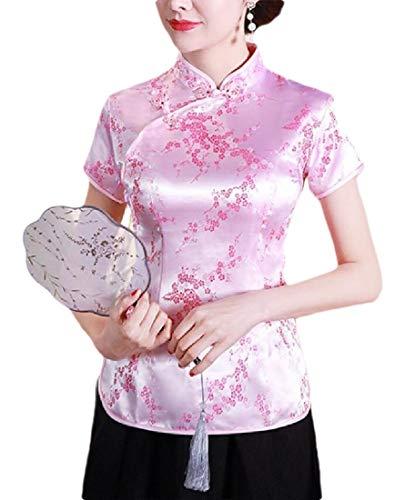 dahuo Chinesische Bluse für Damen, kurzärmelig, bedruckt, Cheongsam-Oberteil, Seide, Qipao Gr. Small, 11