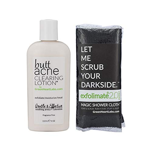 Brilliant Booty Kit | Butt Acne Clearing Lotion and ExfoliMATE Magic Body Exfoliating Cloth for Soft & Young Skin (Black)