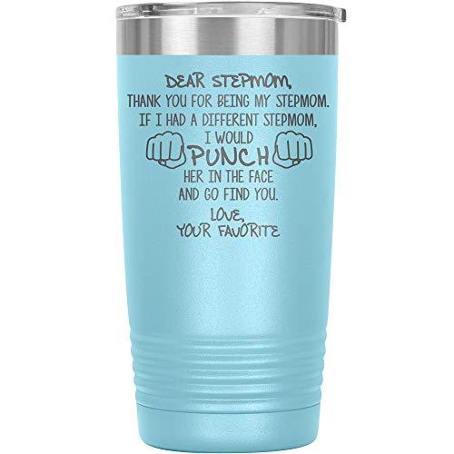 Funny Stepmom Gifts Tumbler Travel Mug Cup Gift For Idea Birthday Best Ever Step Mom G-88I (20oz, Light Blue)