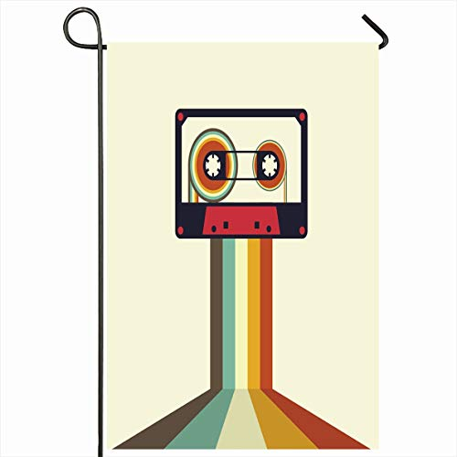Onete Garden Flag 28x40 Inches Club Sound Cassette Retro Vintage Style Party Element Textures Fun Sign Stereo Object Audio Disco Outdoor Seasonal Home Decor Welcome House Yard Banner Sign Flags Audio Cassette Label Template