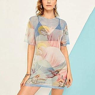 Zhbgfhf Angel Print Short Sleeve Mesh Perspective Dress (Color:Light Blue Size:S) (Color : Light Blue, Size : One Size)