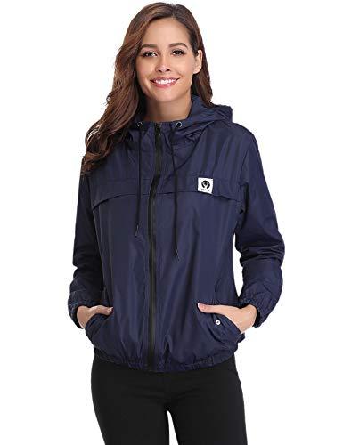 Aibrou Damen Leichte Regenjacke wasserdicht Kurze Windjacke mit Kapuze für den Außenbereich (Marinenblau, X-Small)