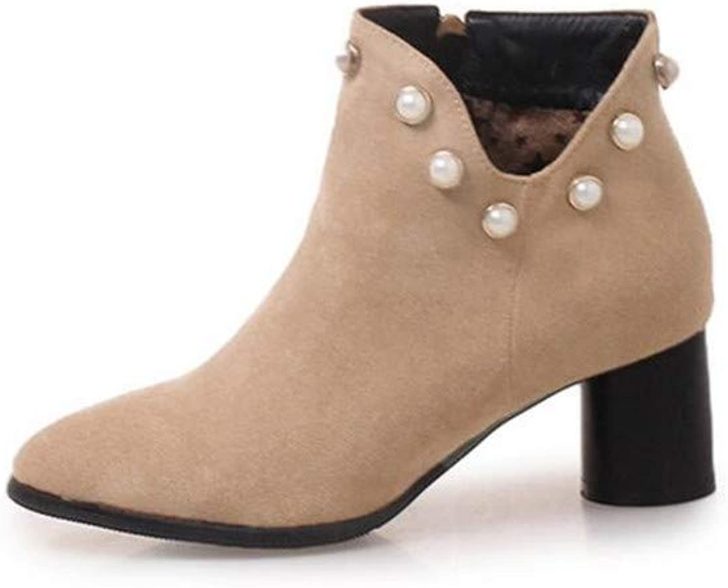MODEOK Women's High Heel Fashion Fall Cute Ankle Boots