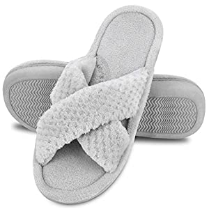 DL Women's Open Toe Slide Slippers, Memory Foam Slip on Home Shoes House Slippers for Women with Indoor Outdoor Anti-Skid Rubber Sole Grey Size: 11-12