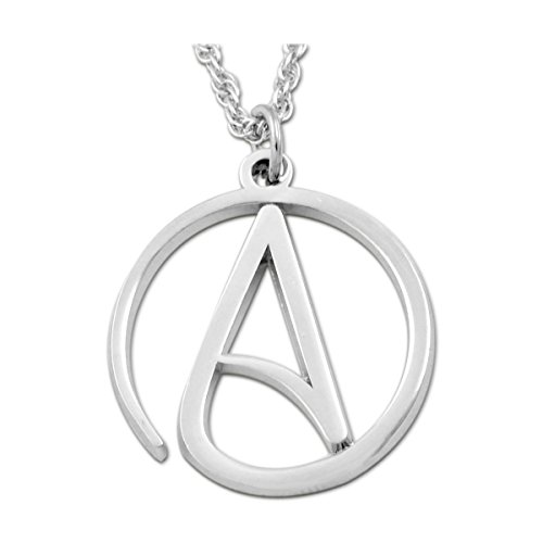 """EvolveFISH Circle A for Atheist Necklace - [Silver][1"""" Diameter]"""