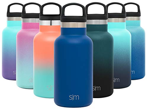 Simple Modern 12oz Ascent Water Bottle - Stainless Steel Hydro w/Handle Lid - Blue Double Wall Tumbler Flask Vacuum Insulated Small Reusable Metal Leakproof Kids -Twilight