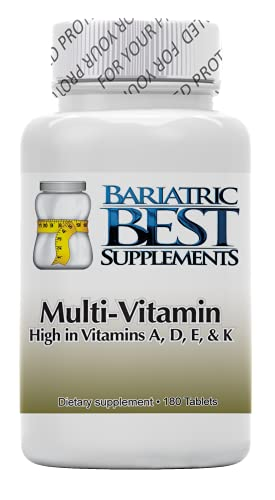 Multivitamin Complex by Bariatric Best Supplements – 180-Pack Dietary Supplements High in Vitamins A, D, E, and K – Easy to Take – Formula Ideal for Bariatric Patients – Fast Absorption