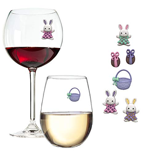 Easter Wine Glass Charms - Magnetic MarkersTags for Regular or Stemless Glasses Set of 6 by Simply Charmed