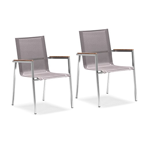 Zelsius 2X Premium Gartenstuhl aus Edelstahl mit Teak Holz Armlehne I 55 x 56 x 88 cm I Taupe I Balkonstuhl für Garten und Terrasse I stapelbar und wetterfest I Terrassenstuhl