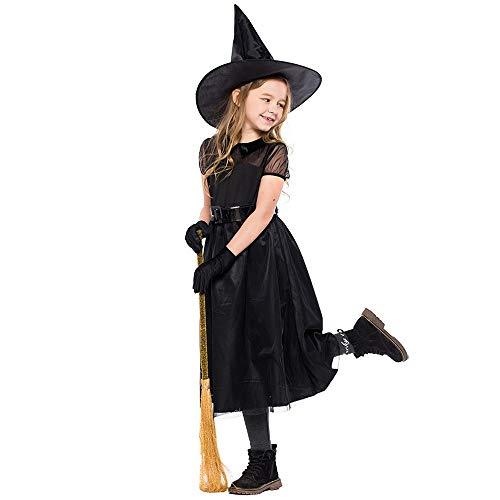 INLLADDY Costume Hexen Kostüm für Mädchen Kleidungset ideal für Halloween für Kinder Kleid+ Handschuh+ Gürtel+ Hut Prom Party Schwarz S