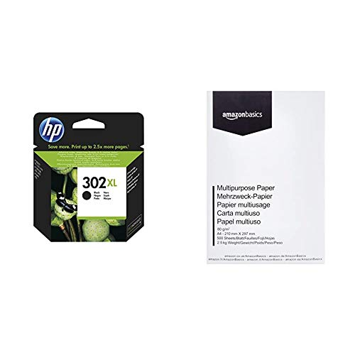 HP 302XL - Cartucho de tinta para impresoras & AmazonBasics Papel multiusos para impresora A4 80gsm, 1 paquete, 500 hojas, blanco