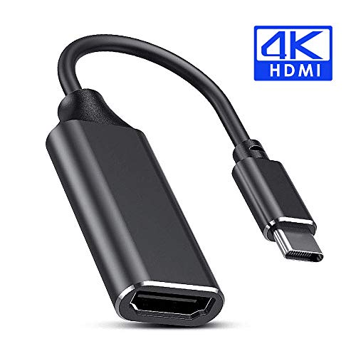 FLYLAND Adaptador de Cable USB C a HDMI, Cable USB Tipo C a HDMI 4K para MacBook Pro 2018/2017, Samsung Galaxy S9 / S8, Surface Book 2, DELL XPS 13/15, Pixelbook (Black)