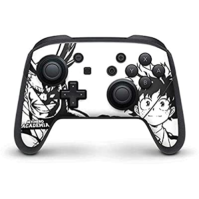 Skinit Decal Gaming Skin for Nintendo Switch Pro Controller - Officially Licensed Funimation All Might and Deku Black and White Design from Skinit