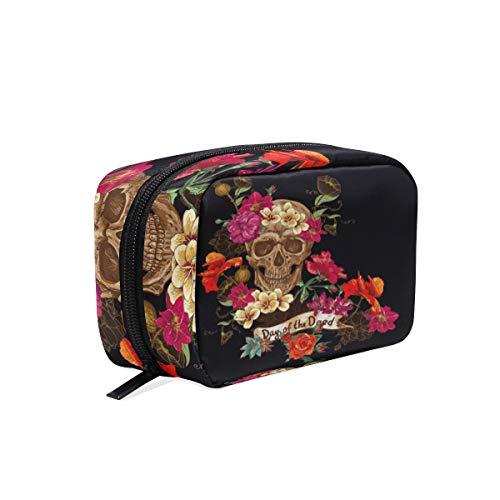 Mnsruu - Pochette de rangement pour maquillage - Motif floral - Motif tête de mort - Cadeau idéal pour femmes et filles