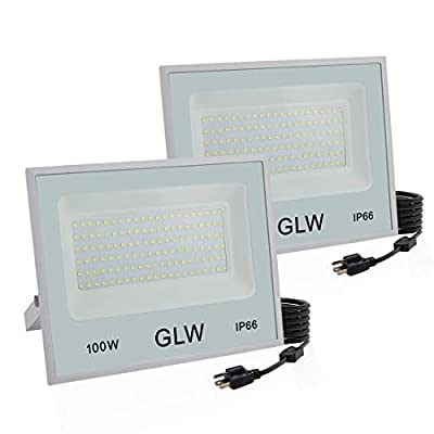 GLW LED Flood Light,100W Outdoor Super Bright Security Lights,6000k 10000LM Daylight White with Plug,IP66 Waterproof Outside Work Light for Playground,Garage,Yard and More [2 Pack]