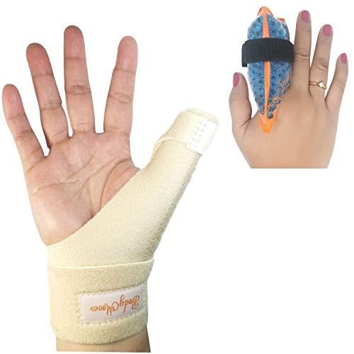 BodyMoves New Thumb Splint Brace Plus Finger Hot and Cold Gel Pack- tenosynovitis, Tendonitis, Trigger Thumb spica,Carpal Tunnel, CMC Adjustable wrist and Reversible Left Right Hand (Desert Sand)