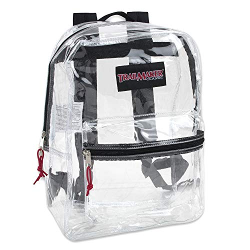 Clear Backpack With Reinforced Straps & Front Accessory Pocket - Perfect for School, Security, Sporting Events (Black)
