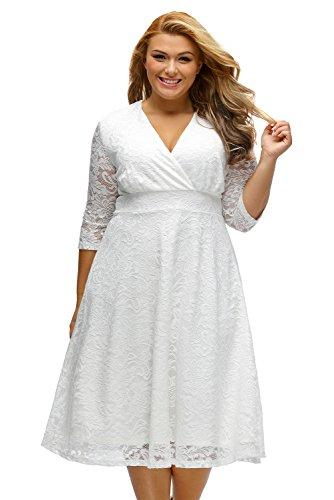 Eastylish Women Fashion Crisscross V Neck Gorgeous Lace High Waist A-line Womens Dresses for Women Plus Size 2XL/XXL White