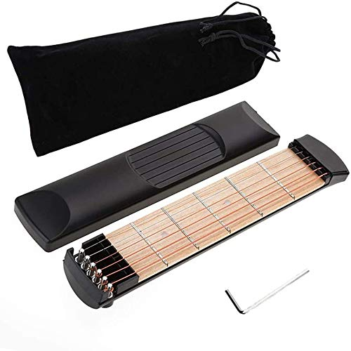 LILI Portable Pocket Guitar Wooden - 6 Fret Portable Guitar Practice Tool Gadget for Beginner Chord Trainer Fingering Pratice Tool with Carton and Convenient Sorage Bag