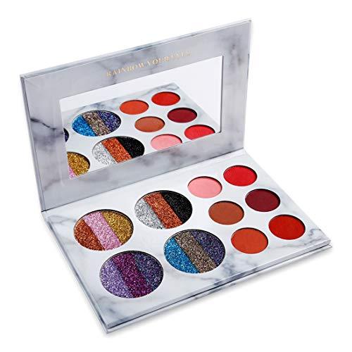 UCANBE BELLE Ombre à paupières Palette Arc-en-Maquillage de Shimmer métallique très pigmentée Glitter et Wet Matte Fard à paupières