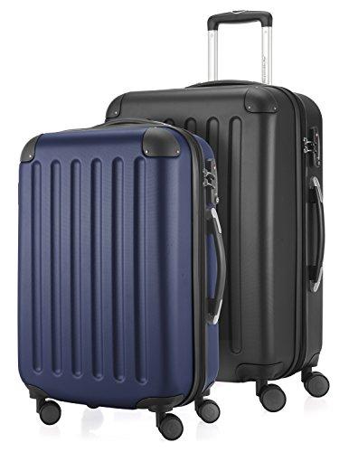 HAUPTSTADTKOFFER - Spree - 2er Koffer-Set Hartschale Matt, TSA, 55 / 65 cm, mit Volumenerweiterung, Dunkelblau-Schwarz