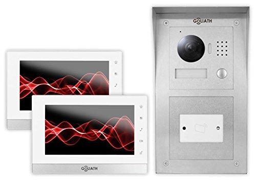 GOLIATH IP Gegensprechanlage, Aufputz RFID Türstation, Edelstahl, HD Kamera, App, Tür Öffner, Schlüsselloser Zugang, LCD Monitor, Video-Speicher, 1 Fam Set, AV-VTC60