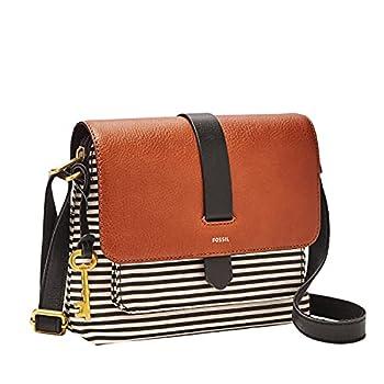 Fossil Women s Kinley Leather/Fabric Small Crossbody Purse Handbag Black Stripe
