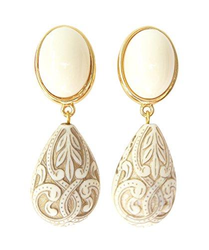 Pendientes de color marfil, muy ligeros, grandes, chapados en oro, piedra beige, colgante en forma de gota, adornos de diseñador JUSTWIN