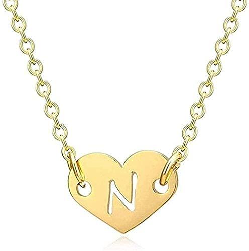 banbeitaotao Collar Collar romántico Amor corazón Letra Colgante Collar para niñas Mujeres Inicial Hueco Alfabeto Colgante Collar Regalo para Mujeres