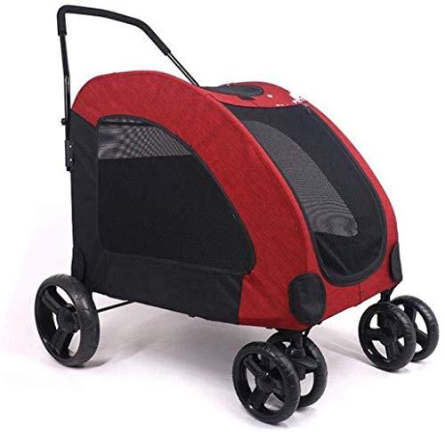 ZUQIEE Cochecito del Animal doméstico de Viaje for Mascotas Perros pequeños Gigante Cart lesionado Viajes Viejo Perro múltiple Plegable (Color : Red)