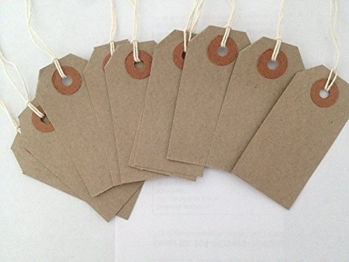 Range Wholesale Quality Buff/Brown - Natural 108 x 54mm Strung Tags Price -Tags Labels Reinforced Rings Luggage Strong String Retail Gun Ticket Tie On Gift (Pack of 100)