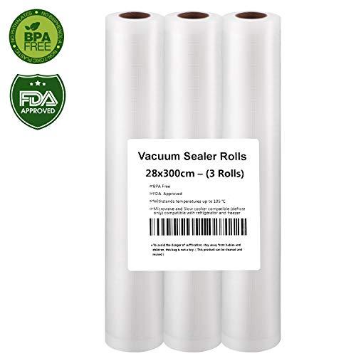 Vakuumrollen, Profi- Folienrollen 3 Vakuumrollen 28x300cm, Folienbeutel für Folienschweißgerät/Vakuumiergerät, ideal für sous vide Kochen- Humbgo