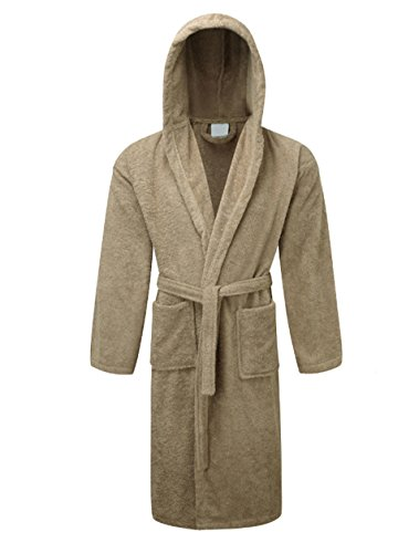 Rohi Mens & Womens Egyptian Collection Hooded Towelling Dressing Gown Bathrobe (Latte)