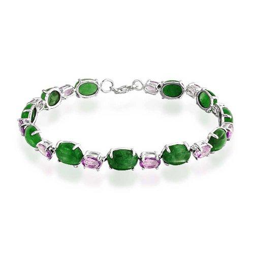 Oval Link Gemstone Dyed Green Jade Lavender Amethyst Tennis Bracelet For Women 925 Sterling Silver 7.5 Inch