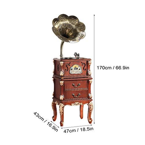 GOM Vintage platenspeler kast, decoratieve meubels ingebouwde stereo-luidsprekers 33/45/78 omw/min 3-snelheidsondersteuning Bluetooth/CD/FM-radio/USB/Cinch-uitgang GOM-006