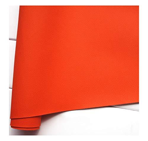 Polipiel para tapizar Cuero de imitación Tela Cuero sintético Vinilo Paño de Cuero Material de Tela 137cm Tela De Cuero Sintético PU Tela De Piel Sintética Venta De Polipiel -Naranja 1.38x2m