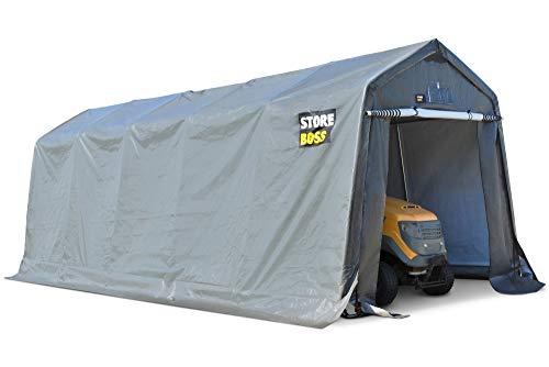 Garden Point Carpa Garaje Store Boss 2,4 x 6,2 m Antracita   Resistente al Agua   Fabricada en Acero galvanizado y Cubierta de Polietileno   Fácil Montaje