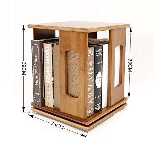 YLCJ Boekenkast plank Opbergvak Organizer Roterend Display Bamboe hardhout Boeken met CD Boeken (Afmetingen: 33 * 33 * 60,5 cm)