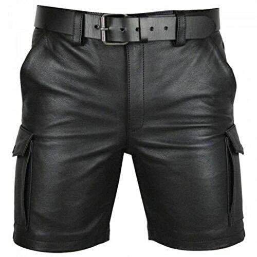 N-B Europeo Y Americano Color Sólido PU Casual Hombres Pantalones Cortos de Cuero KZ5826