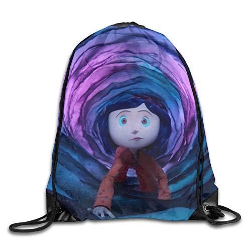 JHUIK Drawstring Bag Backpack,Coraline Fashion Bundle Sac à Dos Sacs à bandoulière Homme Femme Sac de Conception de Cordon extérieur Taille Unique