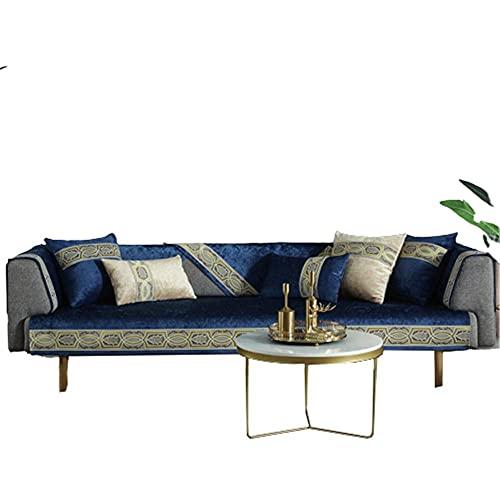 Color sólido 1 2 3 4 plazas Cojín para sofá Funda de sofá seccional,Fundas de sofá seccionales,Protector de sofá en Forma de L,Funda de sofá de Esquina,Azul Marino,110 * 210cm