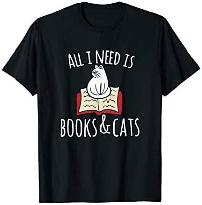 All I need is books Cats t shirt Books and cats art tee product image