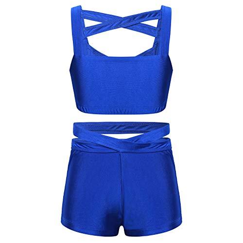 CHICTRY Ropa Deportiva de Yoga Gimnasia para Niña Conjunto Deportivo de Danza Baile Tank Top + Pantalónes Cortos Deporte Fitness Running(6-14años) Azul 9-10 años